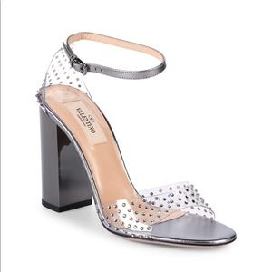 Valentino pvc cleat rhinestone sandals NWB 7